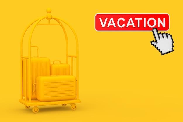 黄色の高級ホテルの荷物トロリーカートの黄色の大きなポリカーボネートスーツケース、黄色の背景に休暇ボタンとピクセルアイコンの手。 3dレンダリング