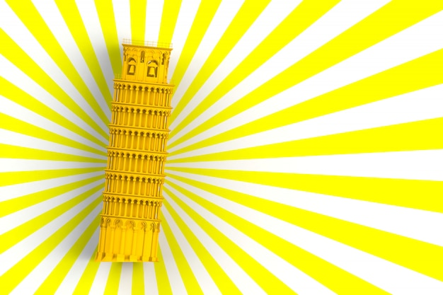 Yellow leaning tower of pisa on white and yellow background, 3d rendering