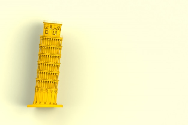Yellow leaning tower of pisa on yellow background, 3d rendering