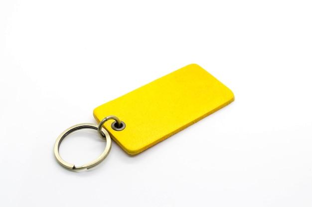 Yellow leather keychain