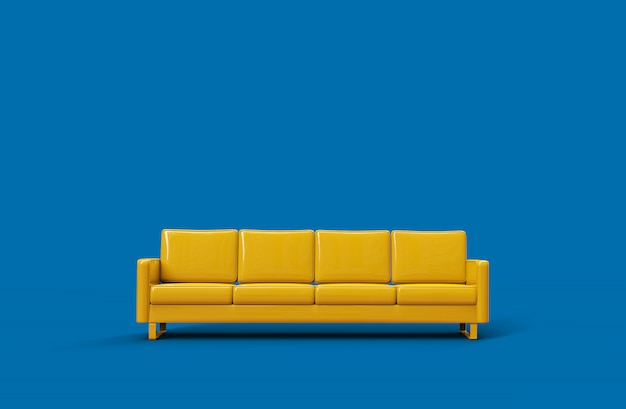 Yellow leather sofa isolated on blue background. 3d rendering