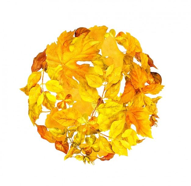 サークル秋のバックグラウンドで黄色の葉。ラウンドの自然なパターン。水彩