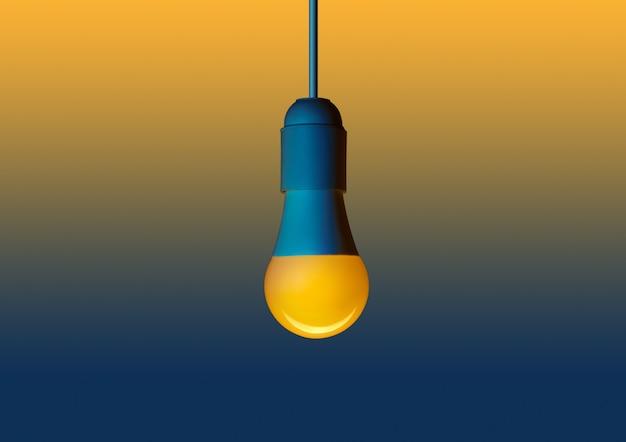 Желтая светодиодная энергосберегающая лампа. светодиод на желто-синем фоне