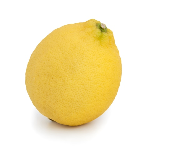 Yellow lemon citrus fruit whole  rip  isolated on white background with clipping path