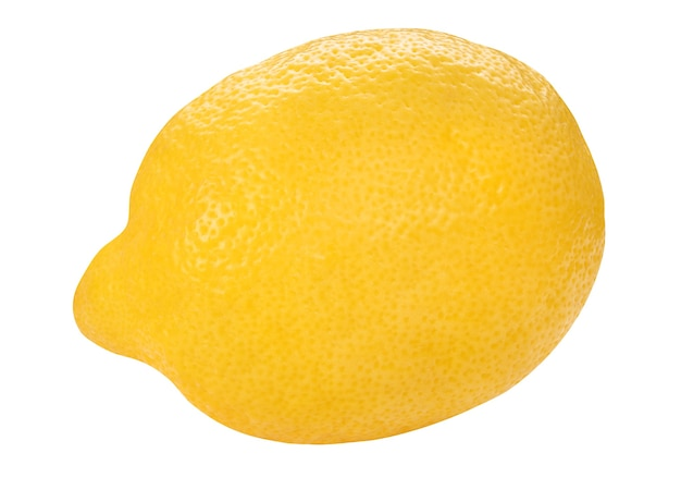 Yellow lemon closeup isolated on white wall. whole fresh limon front view. healthy fruit food wall. organic ripe fruit.