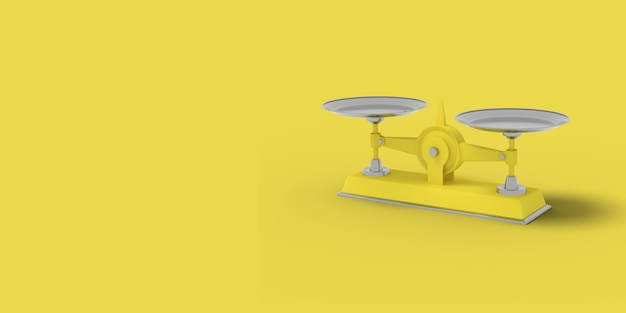 Yellow libra on a yellow background. abstract image. minimal concept business. 3d render.