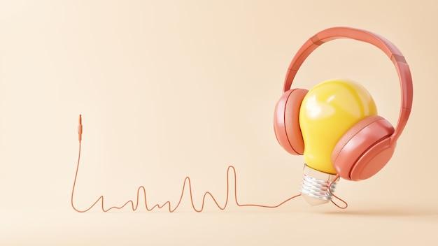 黄色の電球はピンクの背景に楽しくピンクのヘッドフォンで音楽を聴く
