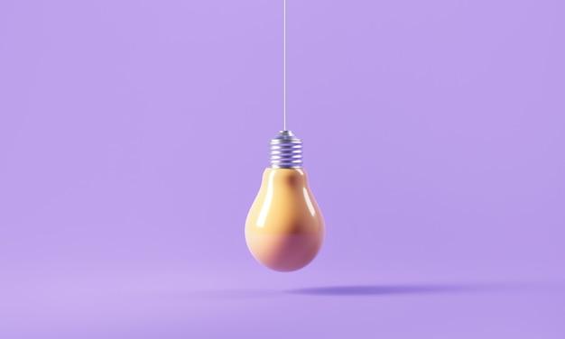 紫色の背景に黄色の電球