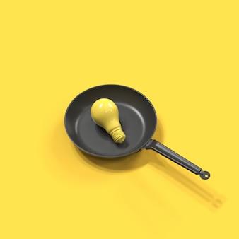 Yellow light bulb set on pan on yellow