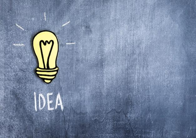 Желтая лампочка с текстом идеи, написанная на доске