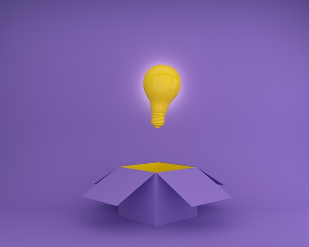 Yellow light bulbs glowing creative idea think outside the box on purple background.