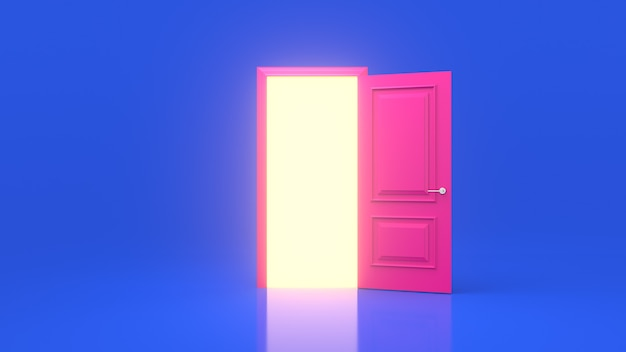Yellow light inside an open pink door isolated on a blue wall