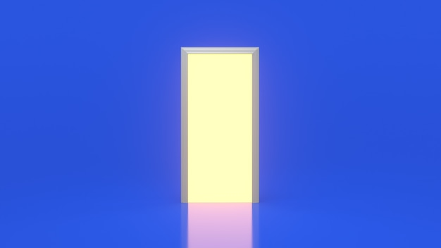 Yellow light inside an open white door isolated on a blue wall
