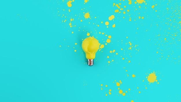 스프레이 효과가있는 노란색 전구. 창의성과 아이디어의 개념