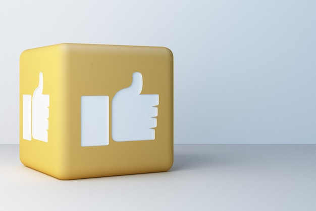 Yellow like icon 3d box  3d rendering