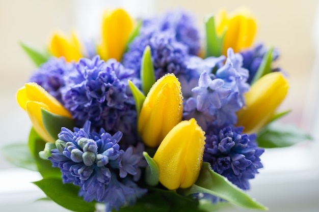 Yellow and lilac flowers. spring. summer close-up