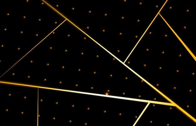 빛을 방출하는 노란색 선 검정색 배경에 깊은 선