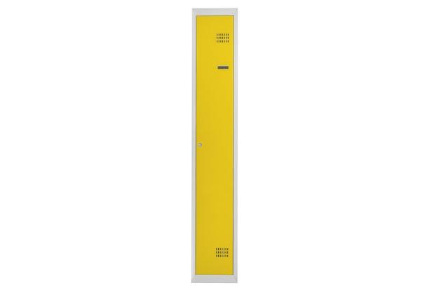 라커룸용 노란색 락커. 체인지 룸 메탈 박스 그레이
