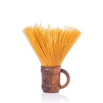Yellow long spaghetti, raw spaghetti.