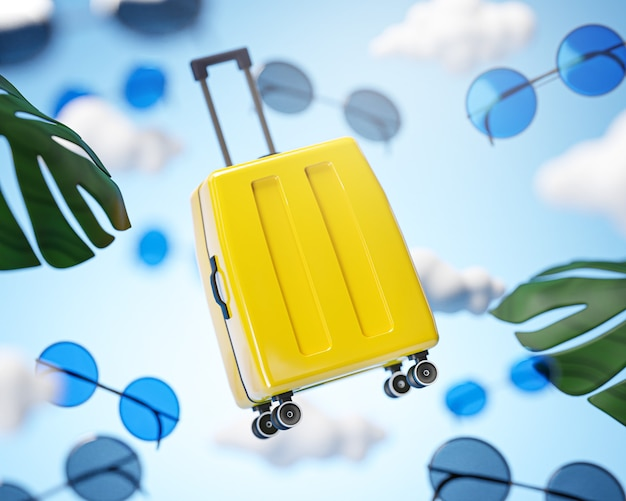 Yellow luggage flying on cloud sky traveling concept background 3d rendering