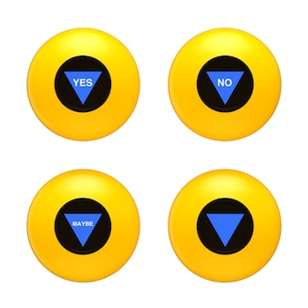 Yellow magic ball with different prediction on a white background. 3d rendering
