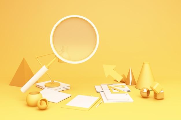 노란색 돋보기 및 wokring 테이블 세트 3d 렌더링