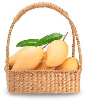 Yellow mango in the basket isolated on white.