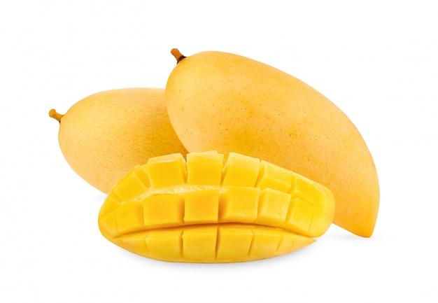 白で隔離される黄色のマンゴー