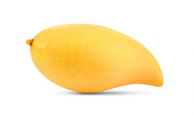 白い背景の上の黄色のマンゴー
