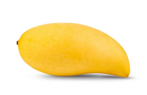 白い壁に黄色のマンゴー。