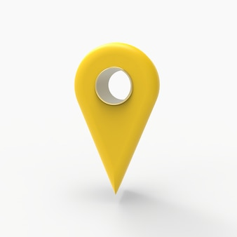 Yellow map pin 3d render illustration