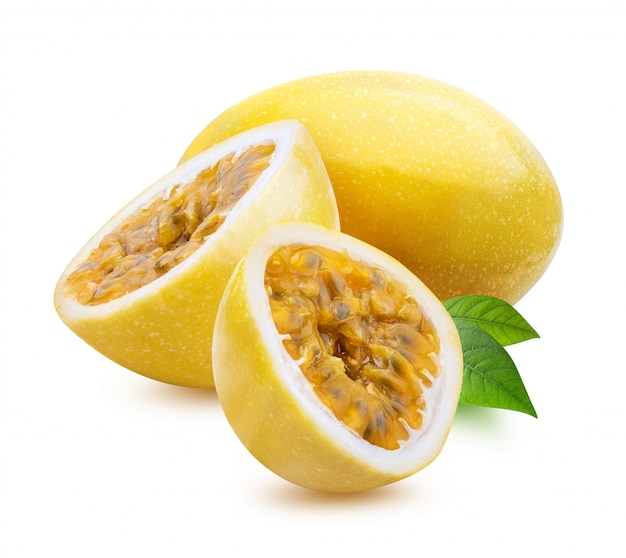 Yellow maracuya (passion fruit) isolated