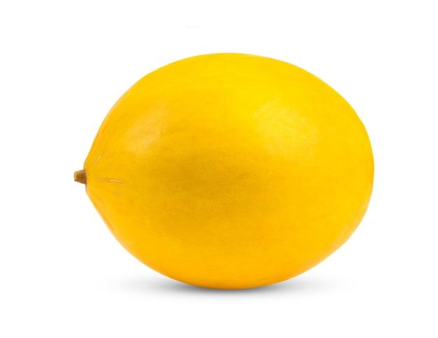 白い背景で隔離の黄色いメロン