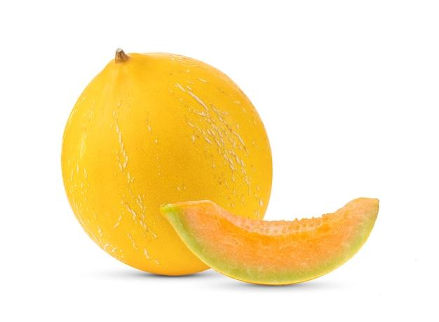白い表面に分離された黄色いメロン