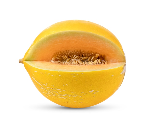 Yellow melon isolated on white wall