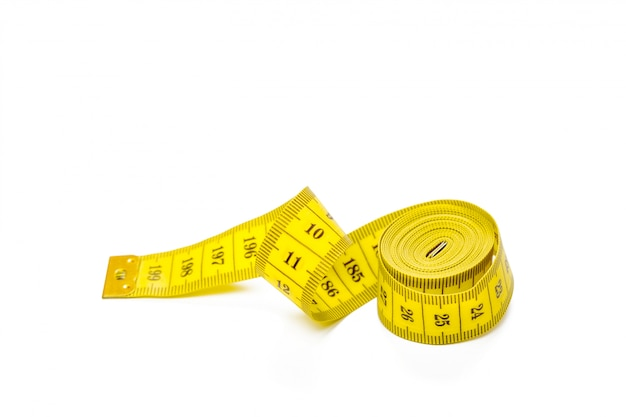 Yellow metric measuring tape isolated