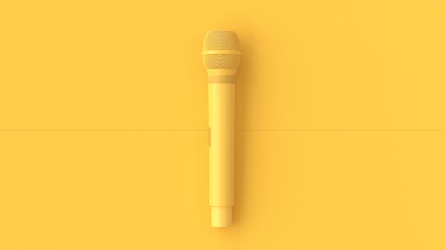 Yellow microphone music background.