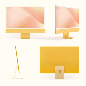 デザインスペースが設定された黄色の最小限のコンピューターデスクトップデジタルデバイス