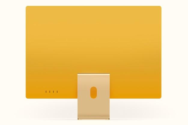 デザインスペースと黄色の最小限のコンピューターデスクトップデジタルデバイス