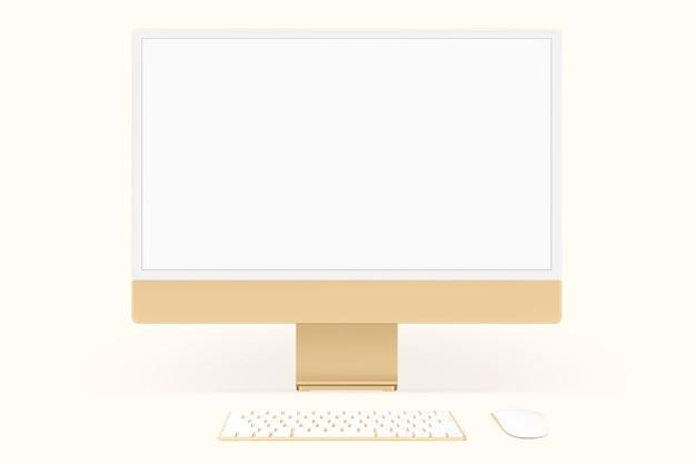 Желтый минимальный компьютерный экран рабочего стола цифровое устройство с пространством для дизайна