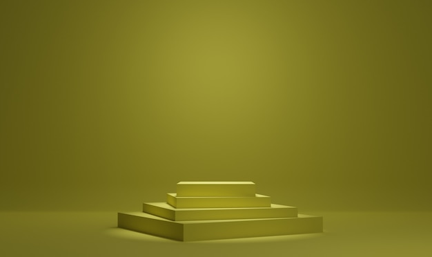 Yellow minimal podium 3d rendering background