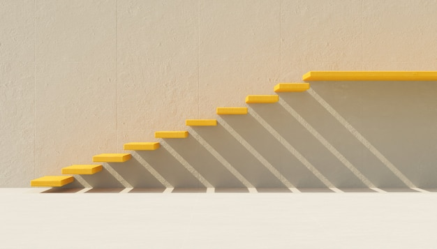 Yellow minimalist stairs on gray cement wall