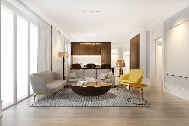 黄色のモダンなダイニングルームと豪華な装飾が施されたリビングルーム
