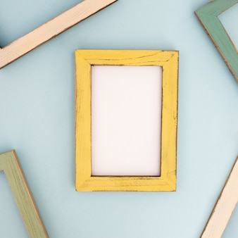 Yellow modern frame on the  wall