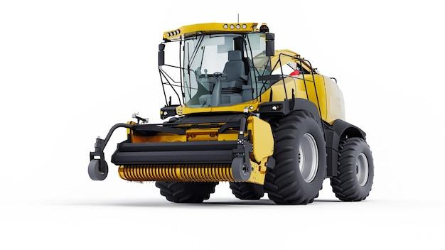 白い背景の上の黄色のモダンな収穫機。 3dイラスト。