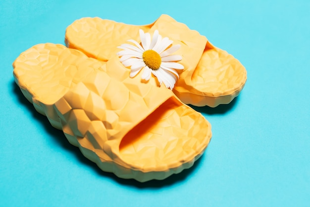 Yellow modern slippers and white chamomile flower  background.