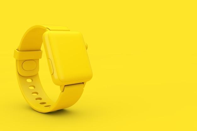 노란색 배경에 이중톤 스타일의 스트랩이 있는 노란색 현대 스마트 시계 모형. 3d 렌더링