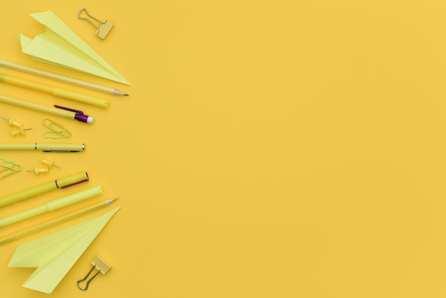 복사 공간이 있는 노란색 단색 사무용 문구 개념 프리미엄 사진