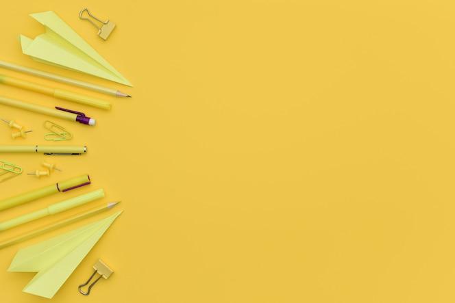 복사 공간이 있는 노란색 단색 사무용 문구 개념