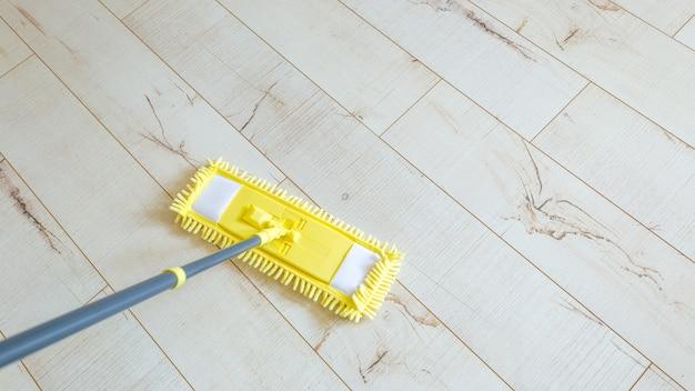 Yellow mop at home